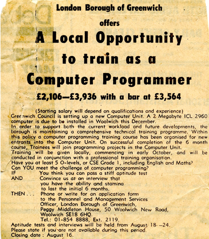 1978 Job Advert